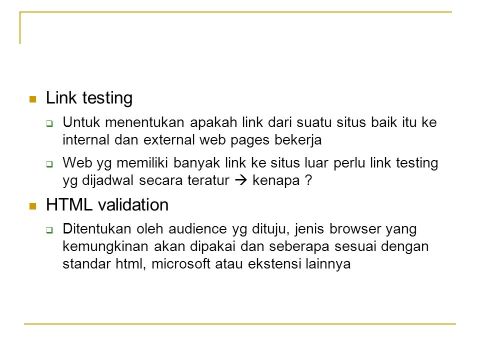 Link testing HTML validation