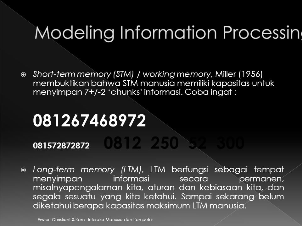 Modeling Information Processing