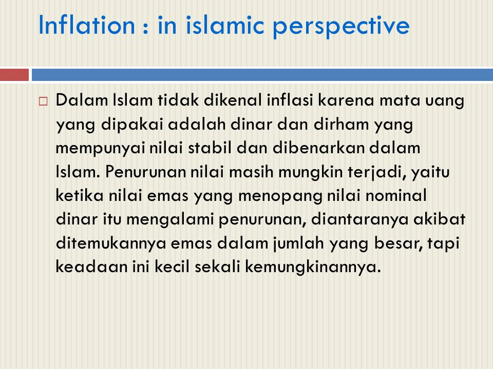 Inflation : in islamic perspective