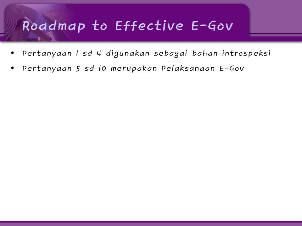 Roadmap to Effective E-Gov
