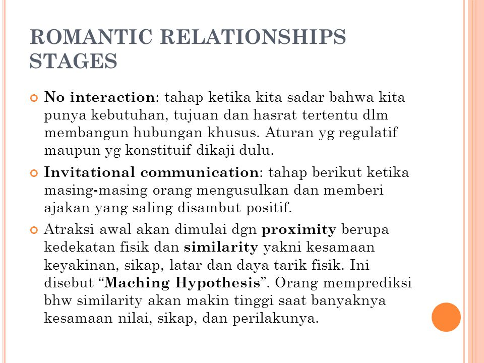 ROMANTIC RELATIONSHIPS STAGES