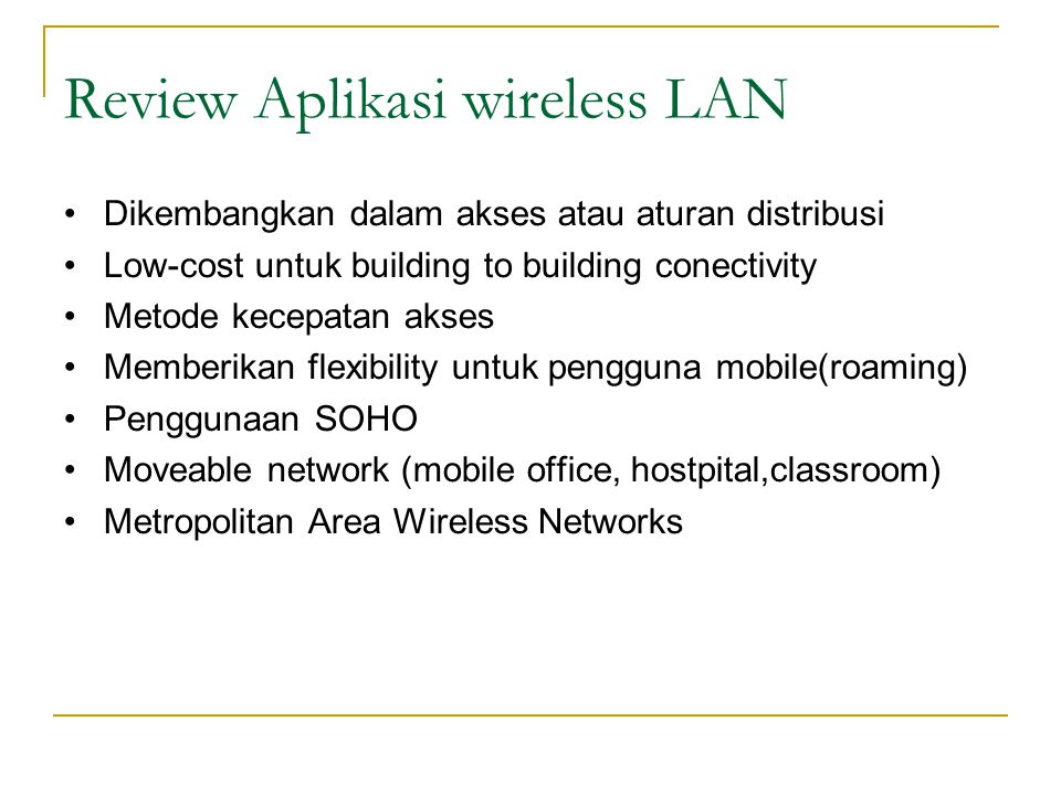 Review Aplikasi wireless LAN