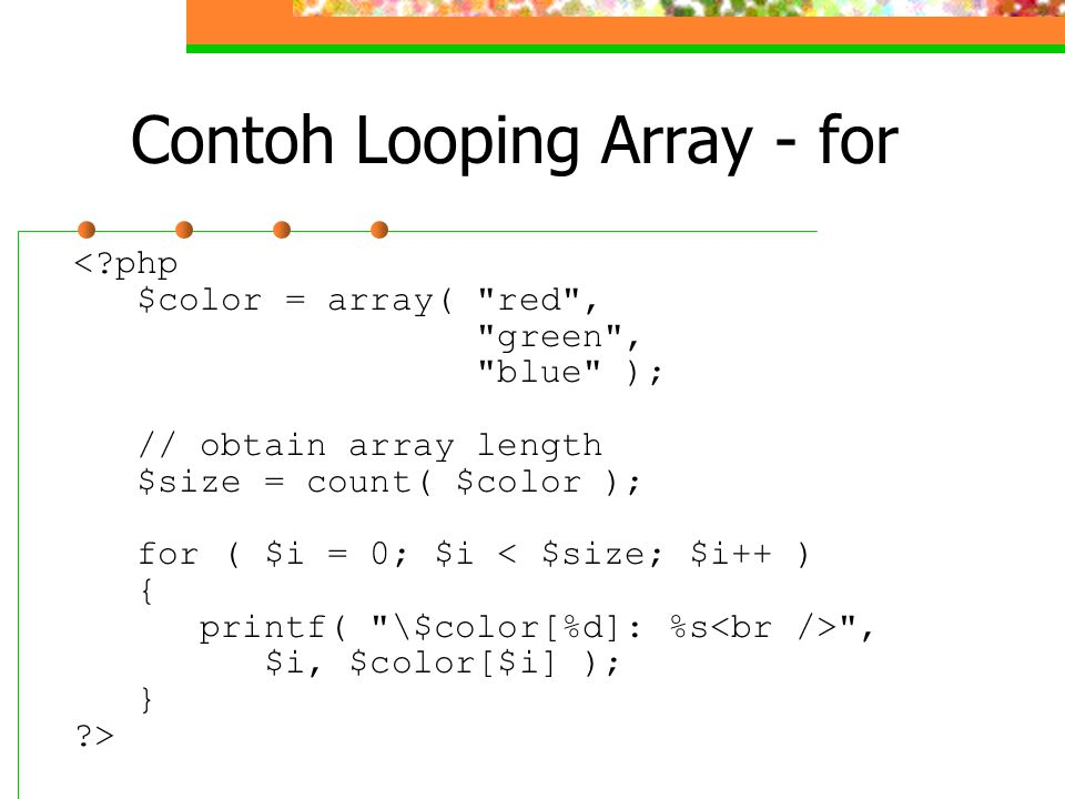 Contoh Looping Array - for