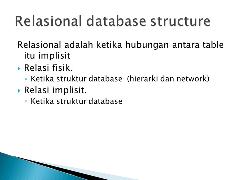 Relasional database structure