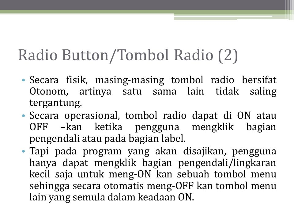 Radio Button/Tombol Radio (2)