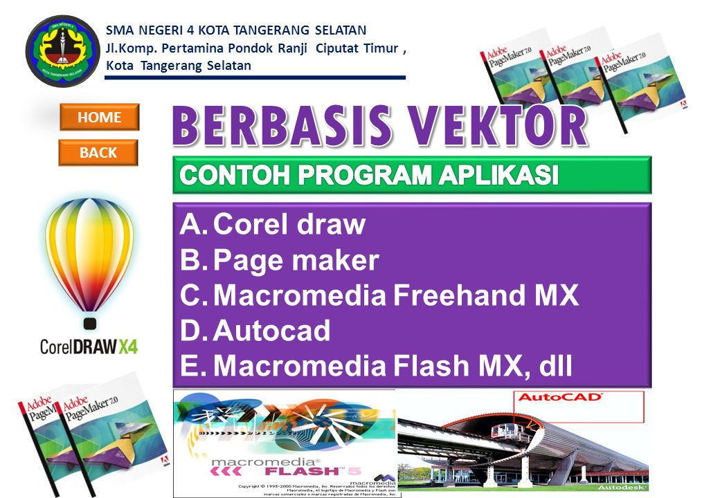 BERBASIS VEKTOR Corel draw Page maker Macromedia Freehand MX Autocad