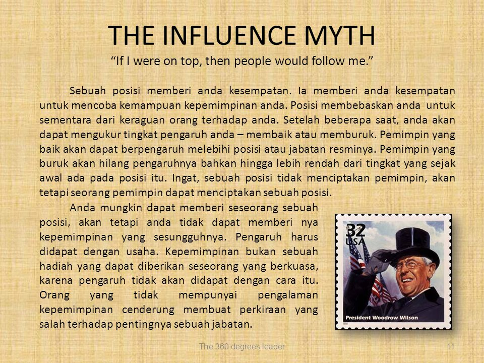 THE INFLUENCE MYTH If I were on top, then people would follow me.