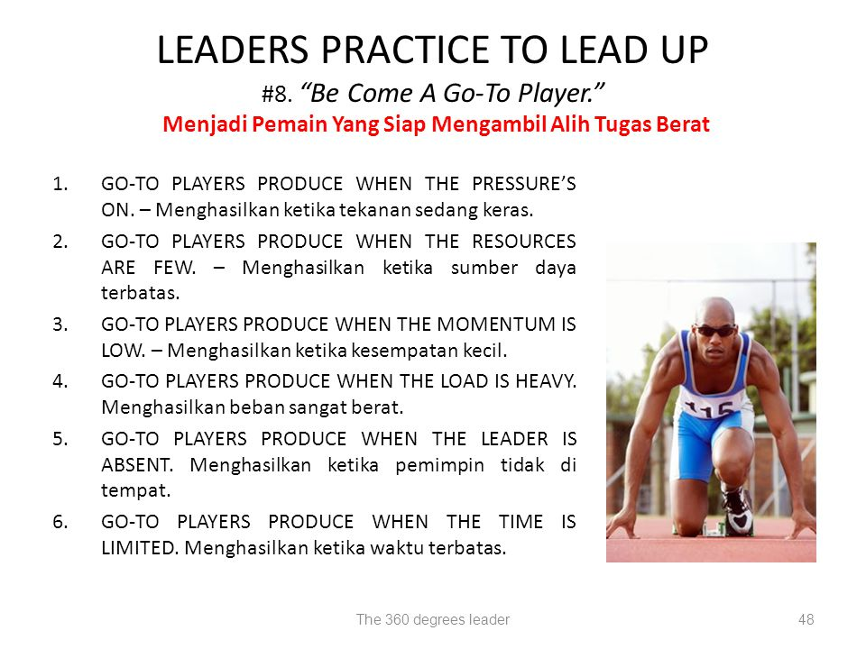 LEADERS PRACTICE TO LEAD UP #8. Be Come A Go-To Player