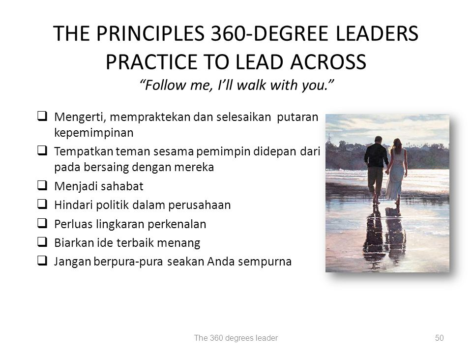 THE PRINCIPLES 360-DEGREE LEADERS PRACTICE TO LEAD ACROSS Follow me, I'll walk with you.
