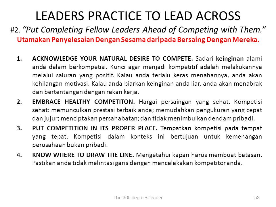 LEADERS PRACTICE TO LEAD ACROSS #2