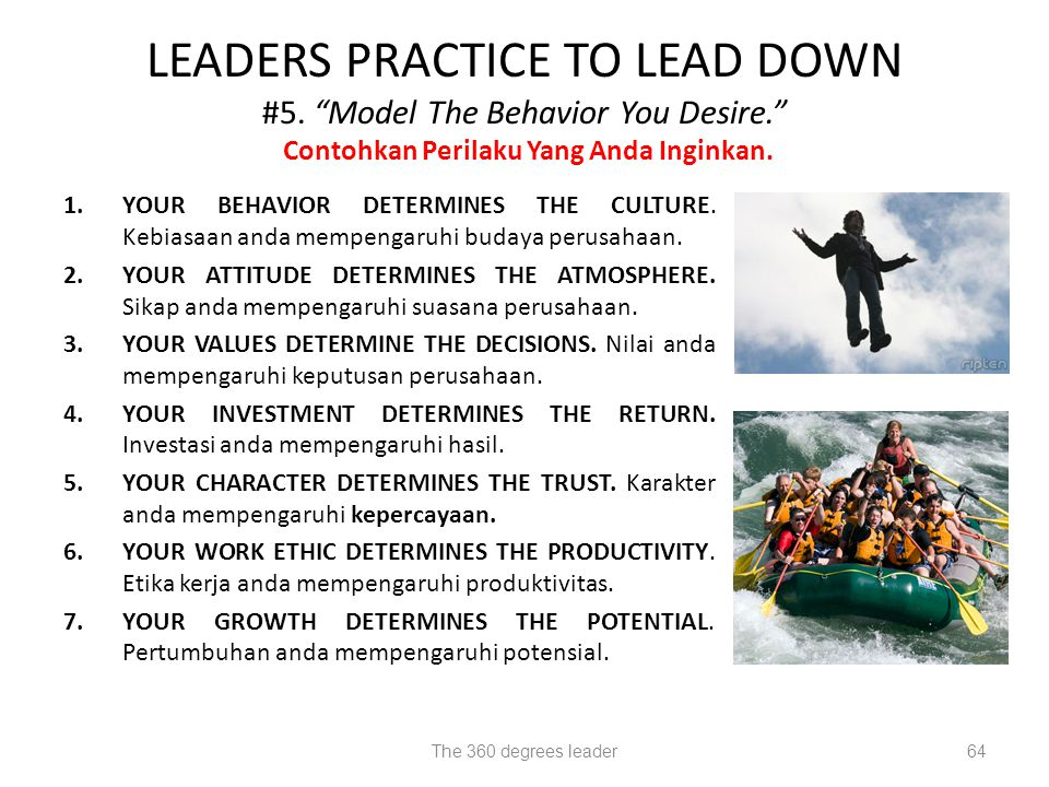 LEADERS PRACTICE TO LEAD DOWN #5. Model The Behavior You Desire