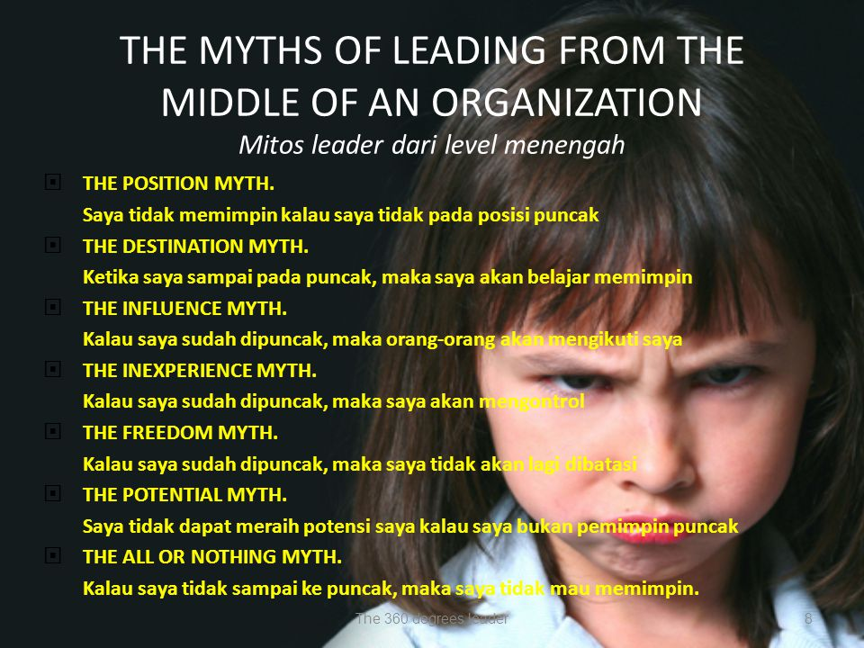THE MYTHS OF LEADING FROM THE MIDDLE OF AN ORGANIZATION Mitos leader dari level menengah