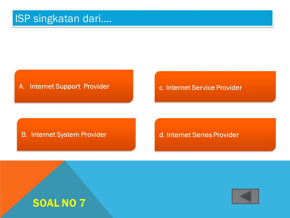 ISP singkatan dari.... Soal no 7 Internet Support Provider