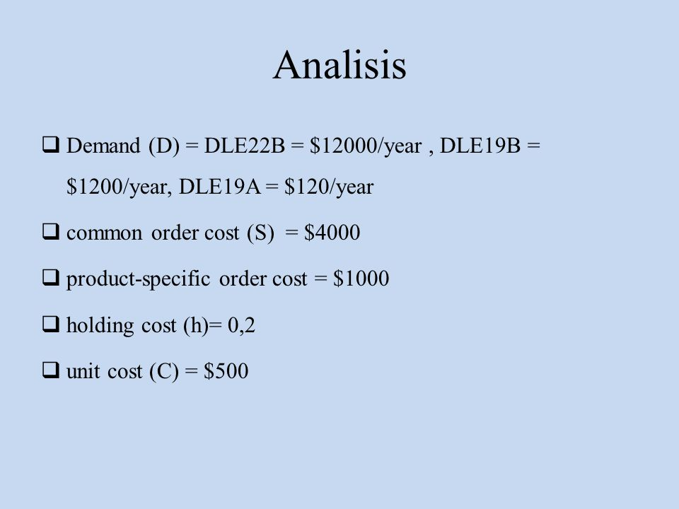 Analisis Demand (D) = DLE22B = $12000/year , DLE19B = $1200/year, DLE19A = $120/year. common order cost (S) = $4000.