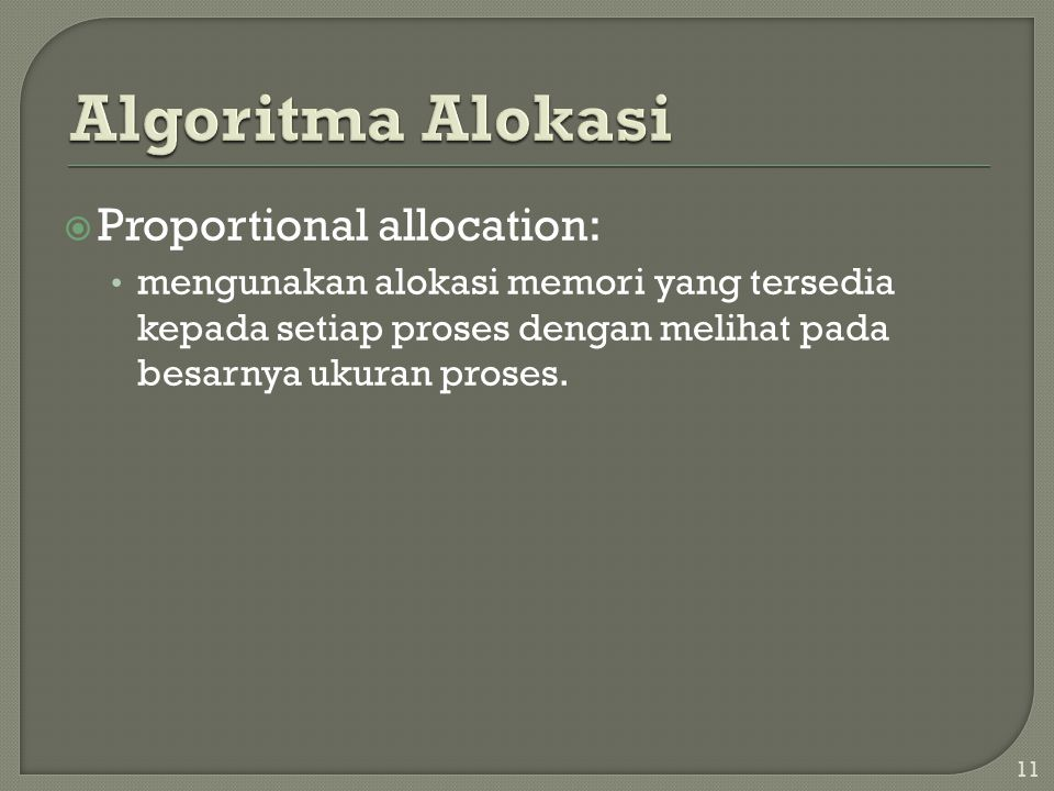 Algoritma Alokasi Proportional allocation: