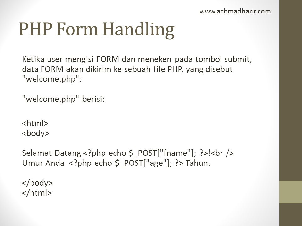PHP Form Handling.
