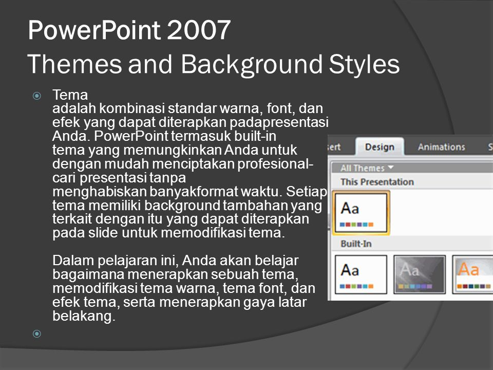 PowerPoint 2007 Themes and Background Styles
