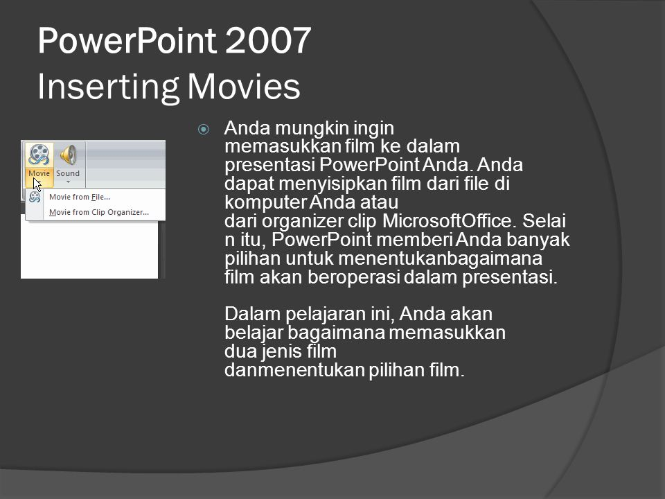 PowerPoint 2007 Inserting Movies