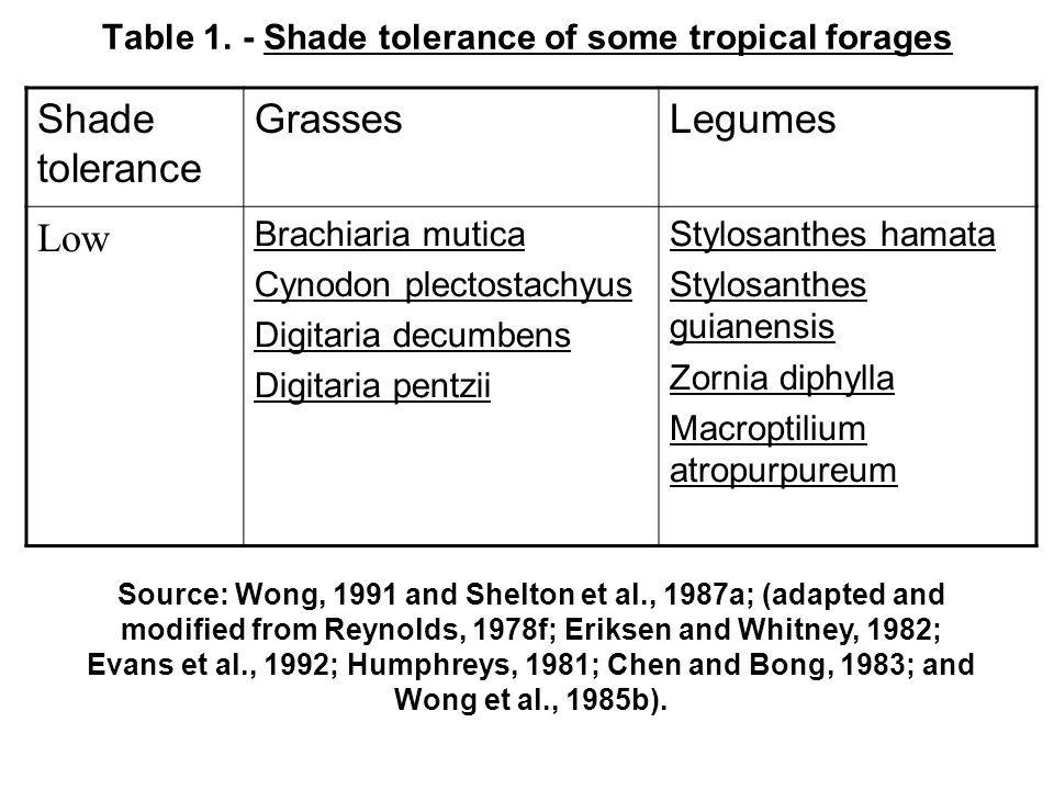 Table 1. - Shade tolerance of some tropical forages