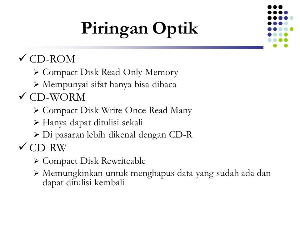 Piringan Optik CD-ROM CD-WORM CD-RW Compact Disk Read Only Memory