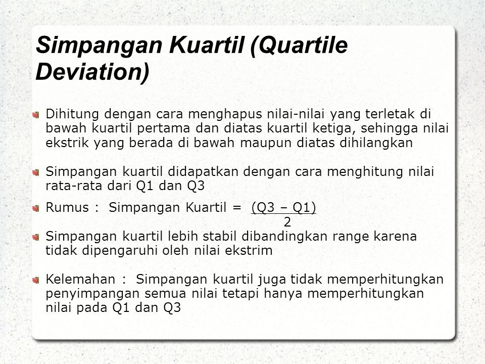 Simpangan Kuartil (Quartile Deviation)