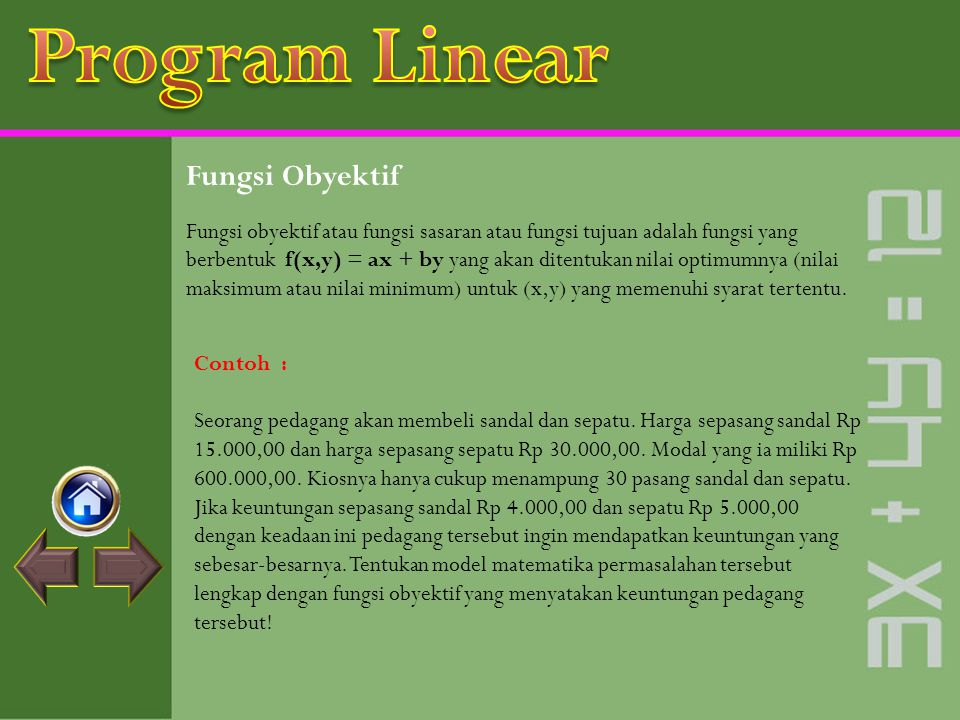 Program Linear Fungsi Obyektif