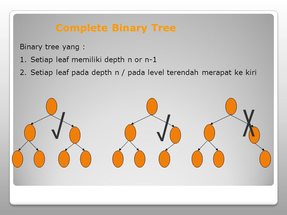 X √ √ Complete Binary Tree Binary tree yang :