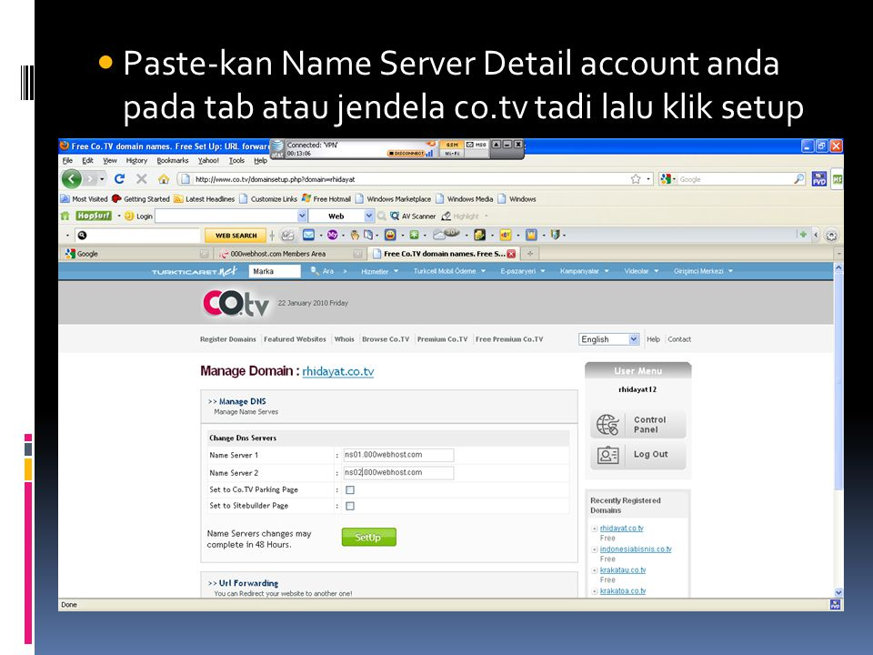 Paste-kan Name Server Detail account anda pada tab atau jendela co