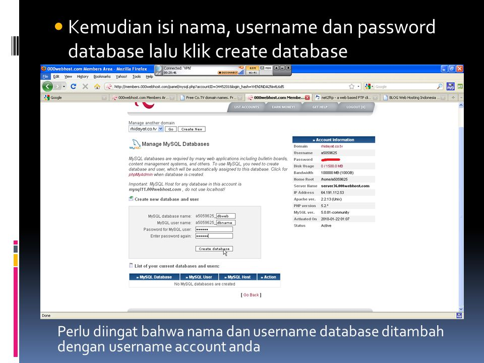 Kemudian isi nama, username dan password database lalu klik create database