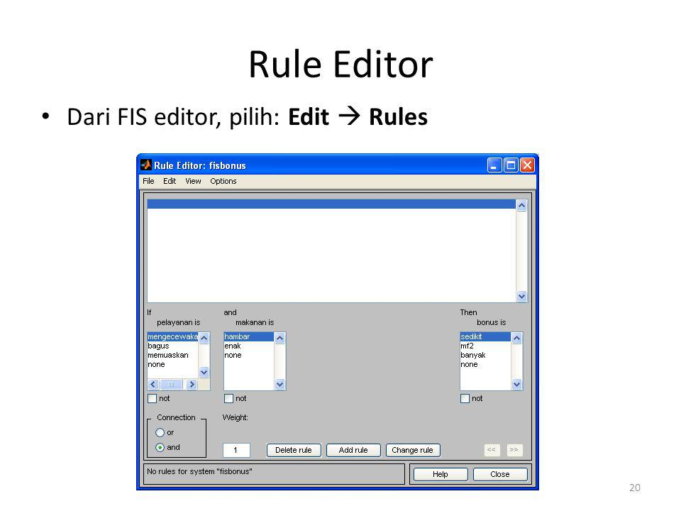 Rule Editor Dari FIS editor, pilih: Edit  Rules