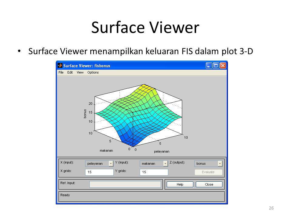 Surface Viewer Surface Viewer menampilkan keluaran FIS dalam plot 3-D