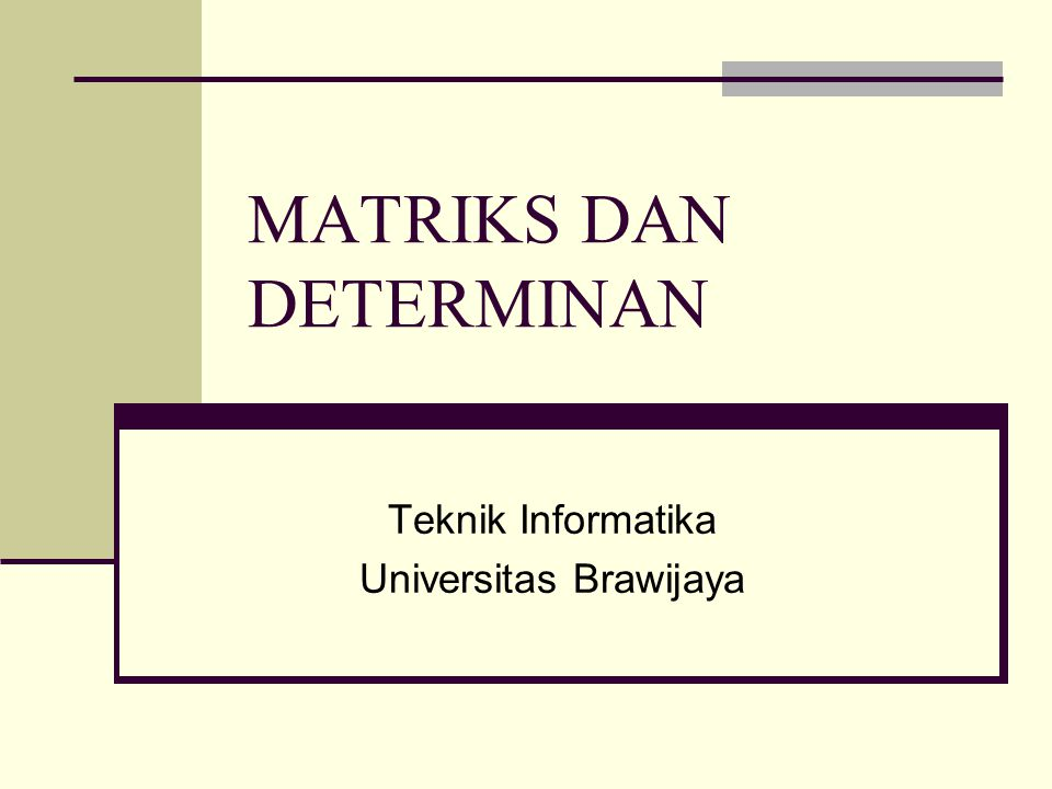 MATRIKS DAN DETERMINAN
