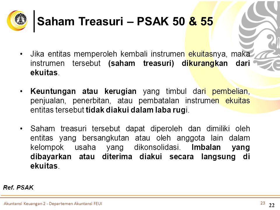 Saham Treasuri – PSAK 50 & 55