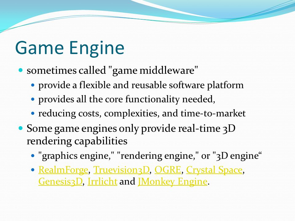 Game Engine sometimes called game middleware