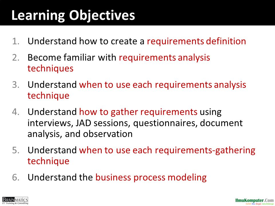 Learning Objectives Understand how to create a requirements definition