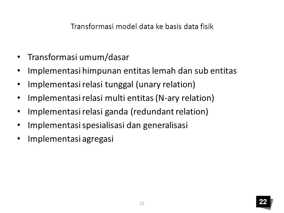 Transformasi model data ke basis data fisik