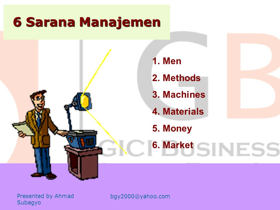 6 Sarana Manajemen Men Methods Machines Materials Money Market