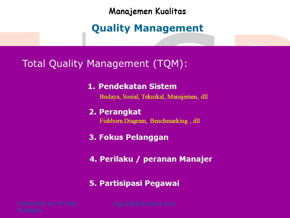 Total Quality Management (TQM):