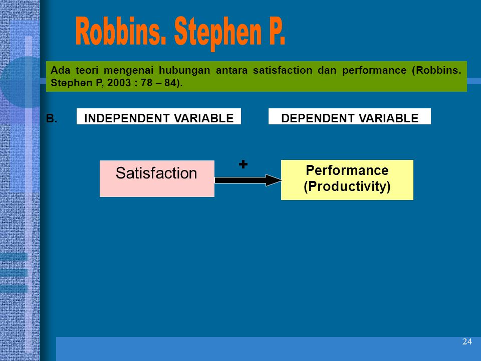 Robbins. Stephen P. + Satisfaction Performance (Productivity) B.