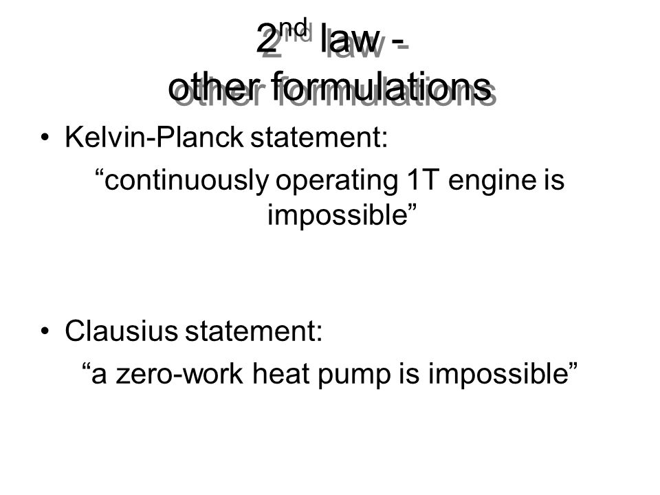 2nd law - other formulations