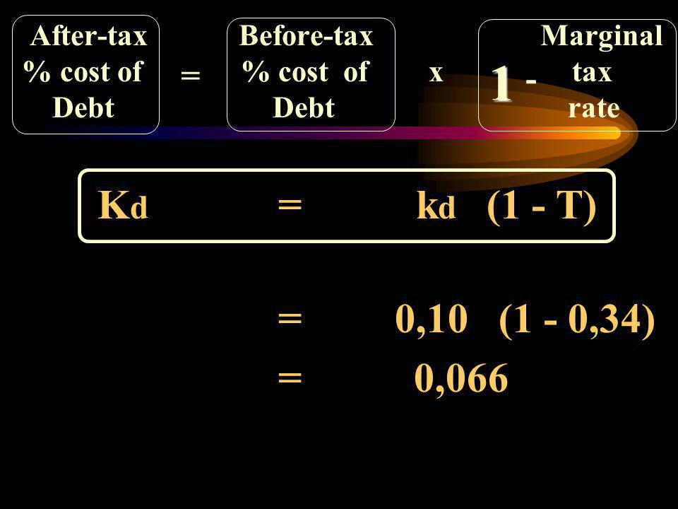 1 = 0,066 = 0,10 (1 - 0,34) = - After-tax Before-tax Marginal