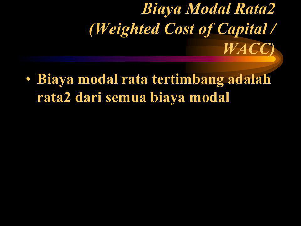Biaya Modal Rata2 (Weighted Cost of Capital / WACC)