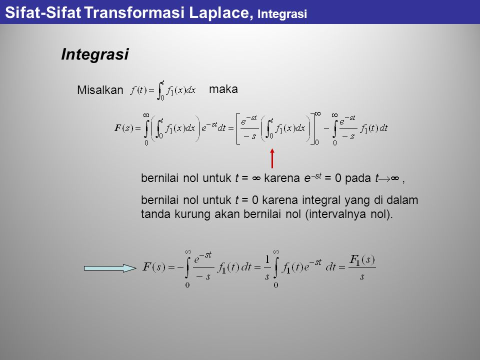 Sifat-Sifat Transformasi Laplace, Integrasi