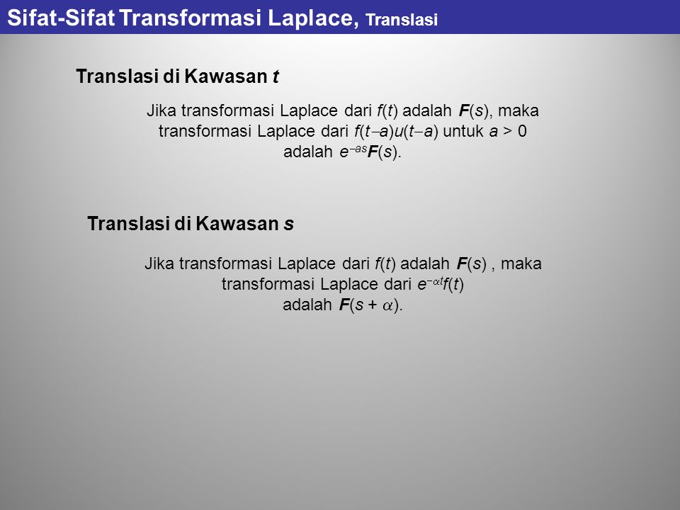 Sifat-Sifat Transformasi Laplace, Translasi