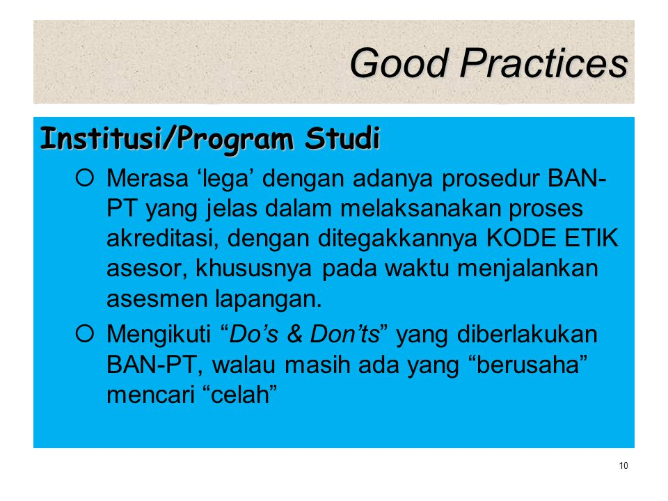 Good Practices Institusi/Program Studi