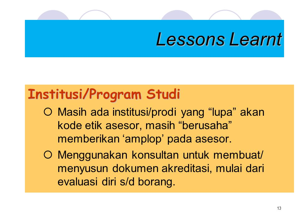 Lessons Learnt Institusi/Program Studi