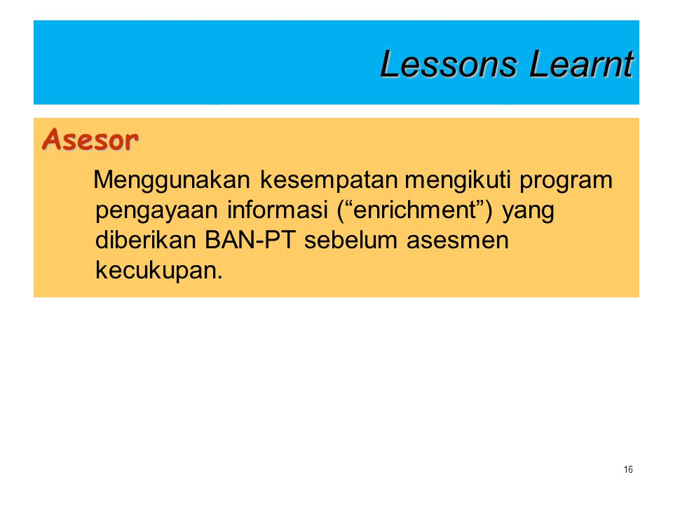 Lessons Learnt Asesor.