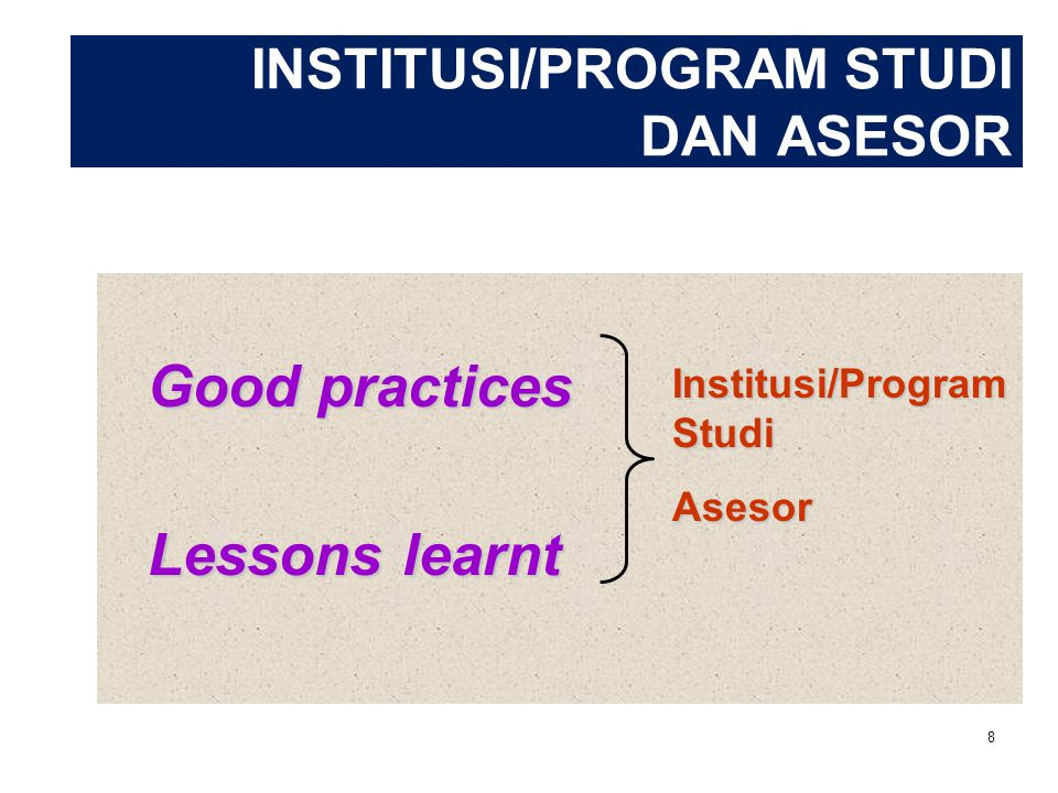 INSTITUSI/PROGRAM STUDI DAN ASESOR