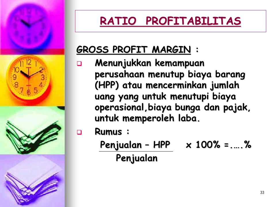 RATIO PROFITABILITAS GROSS PROFIT MARGIN :