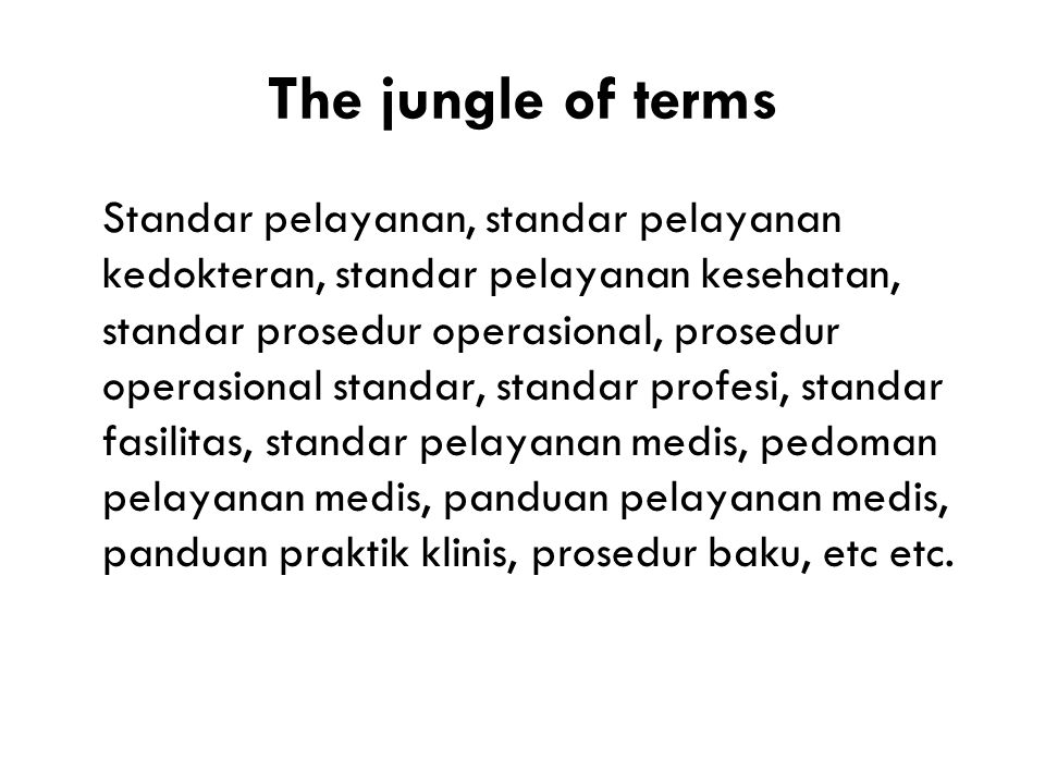 The jungle of terms